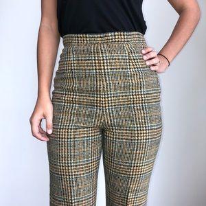 Vintage plaid high waist trousers W26